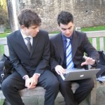 Andy and Alex practicing the presentation moments before going into the House of Lords