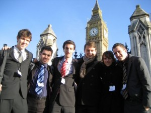 Part of the team outside the Houses of Parliament