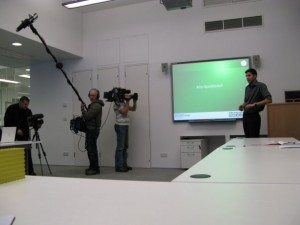 Discovery Channel and Claudio filming Aran presenting