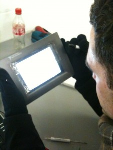 Toby working on the touch panel