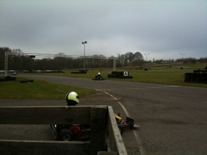 Pusher kart coming out of the pit lane