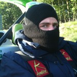 Toby in trendy balaclava!